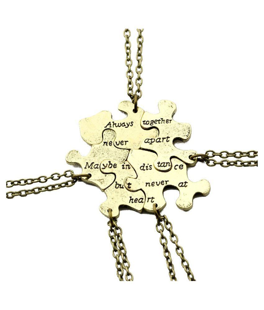 9ed8213f8fe02 5 pcs/set Vintage Interlocking Jigsaw Puzzle BFF Necklaces Best ...