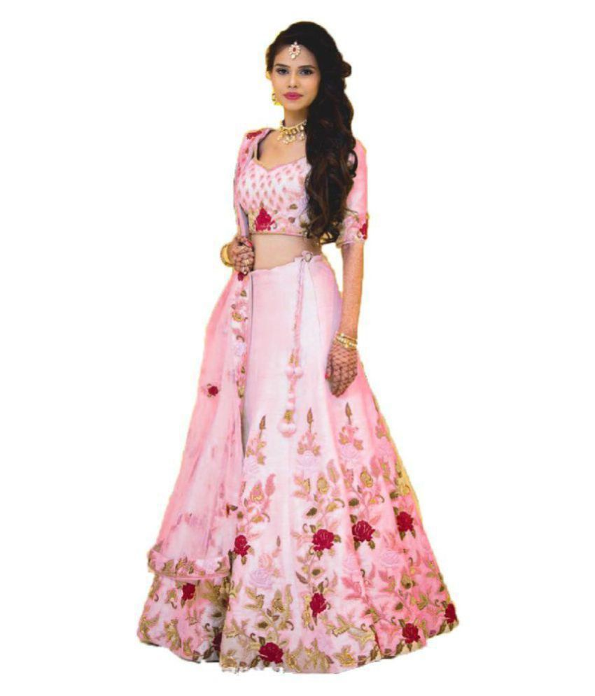 ff279af9d8 Monika Fashion White and Pink Bangalore Silk Circular Semi Stitched Lehenga  - Buy Monika Fashion White and Pink Bangalore Silk Circular Semi Stitched  ...