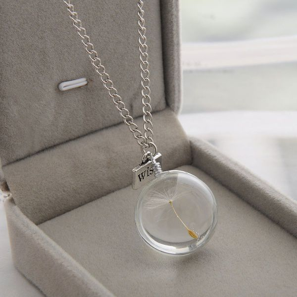 2016 High Quality Newest Handmade Natural Dried Flowers Dandelion Crystal Necklace Only for Romantic Elegant Woman Vogue Gemstone Time Silver Necklace