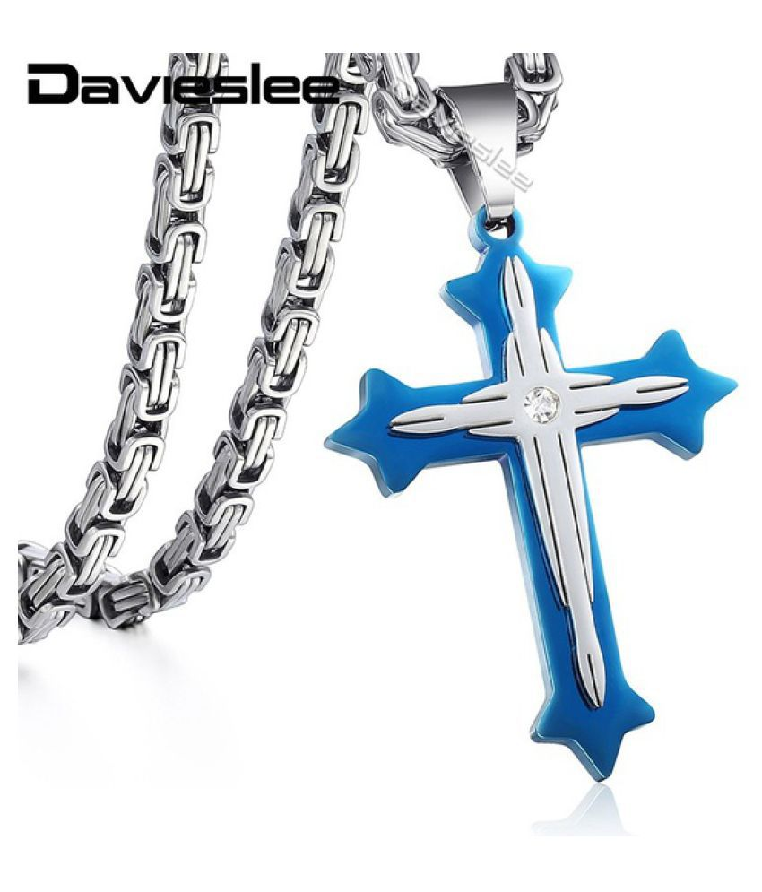 Davieslee Jewelry  Mens Byzantine Box Stainless Steel Cross Pendant Necklace Chain 22inch 24inch