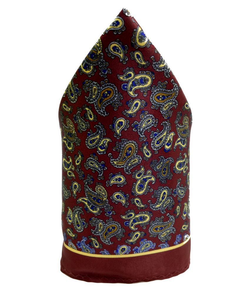 Mentiezi Poly Silk Multicolor Printed Pocket Square with Brown Color Border