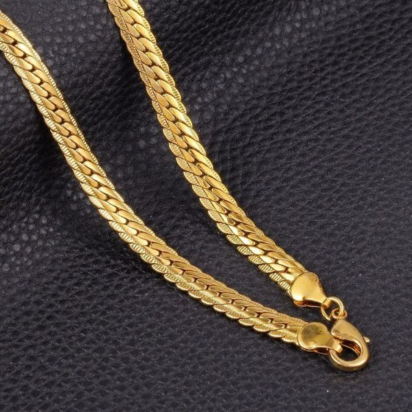 18K Gold 16-30inch 3MM Uni Wedding Punk Style Long Embossing Jewelry Clavicle Snake Chain Necklace
