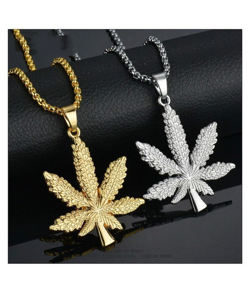 18K Gold Plated Iced Out Weed Marijuana Leaf Pot Diamond Pendant Necklace Snake Chain