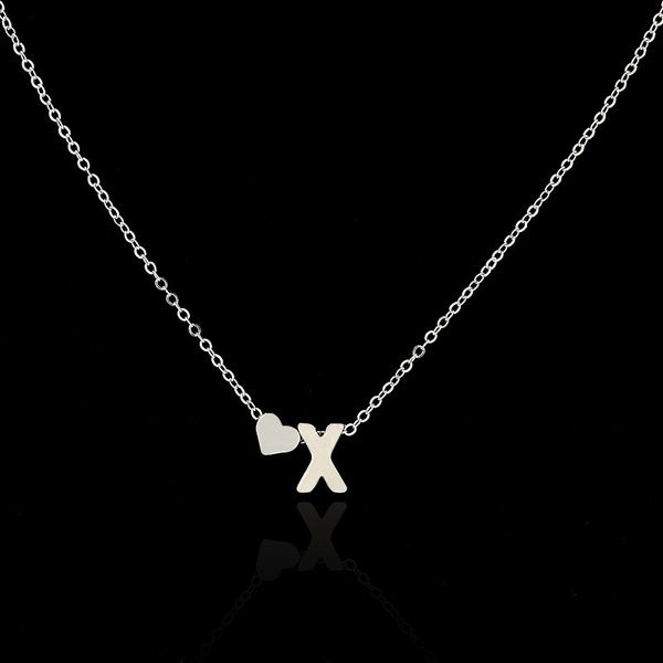 26 letters Long Sweater Chain Necklaces tiny love heart Pendants for Women collier lovers gift choker necklace pendant