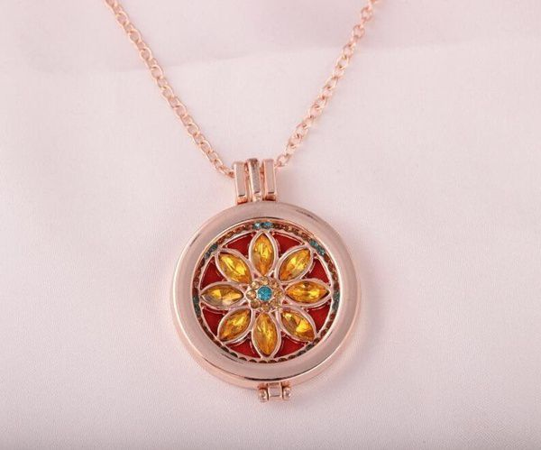 Aromatherapy Necklace Stainless Steel Tree of Life/Flower Pattern Locket Pendant Oils Essential Perfume Diffuser Necklace + 7 Felt Pads