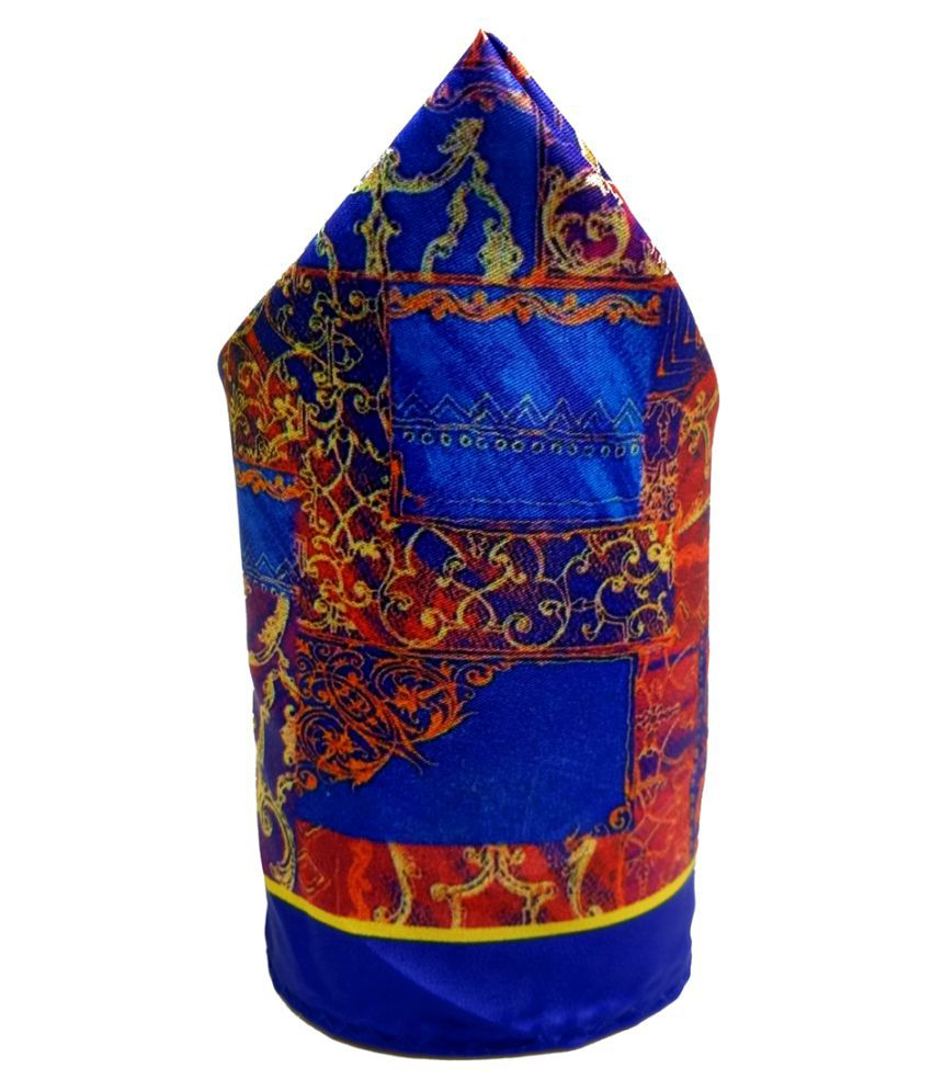 Mentiezi Poly Silk Multicolor Printed Pocket Square with Blue Color Border