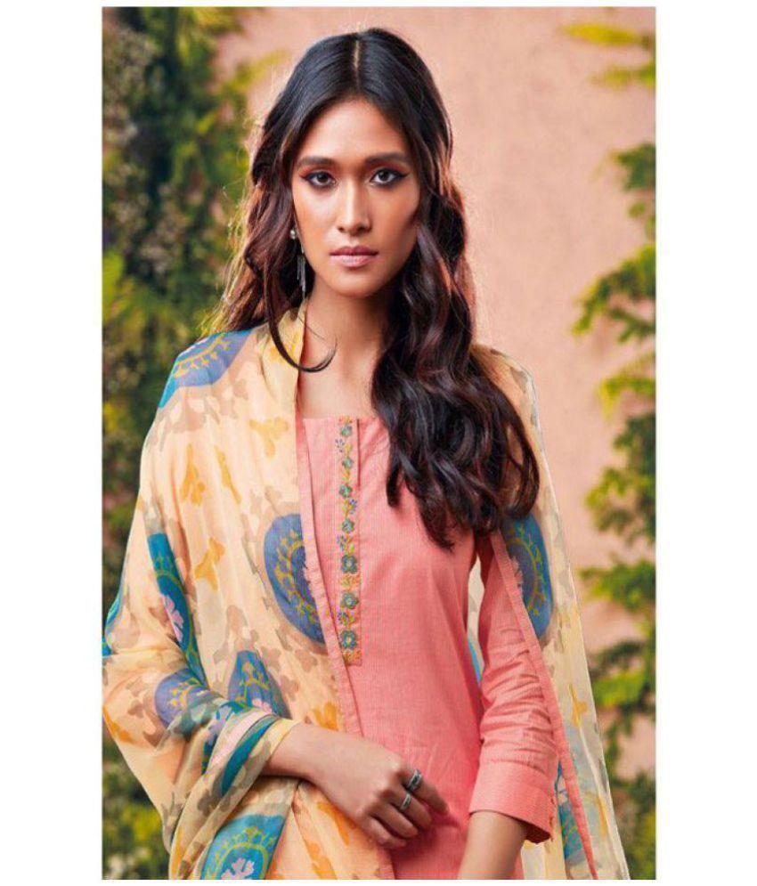 Tina Fashion Peach Cotton Dress Material