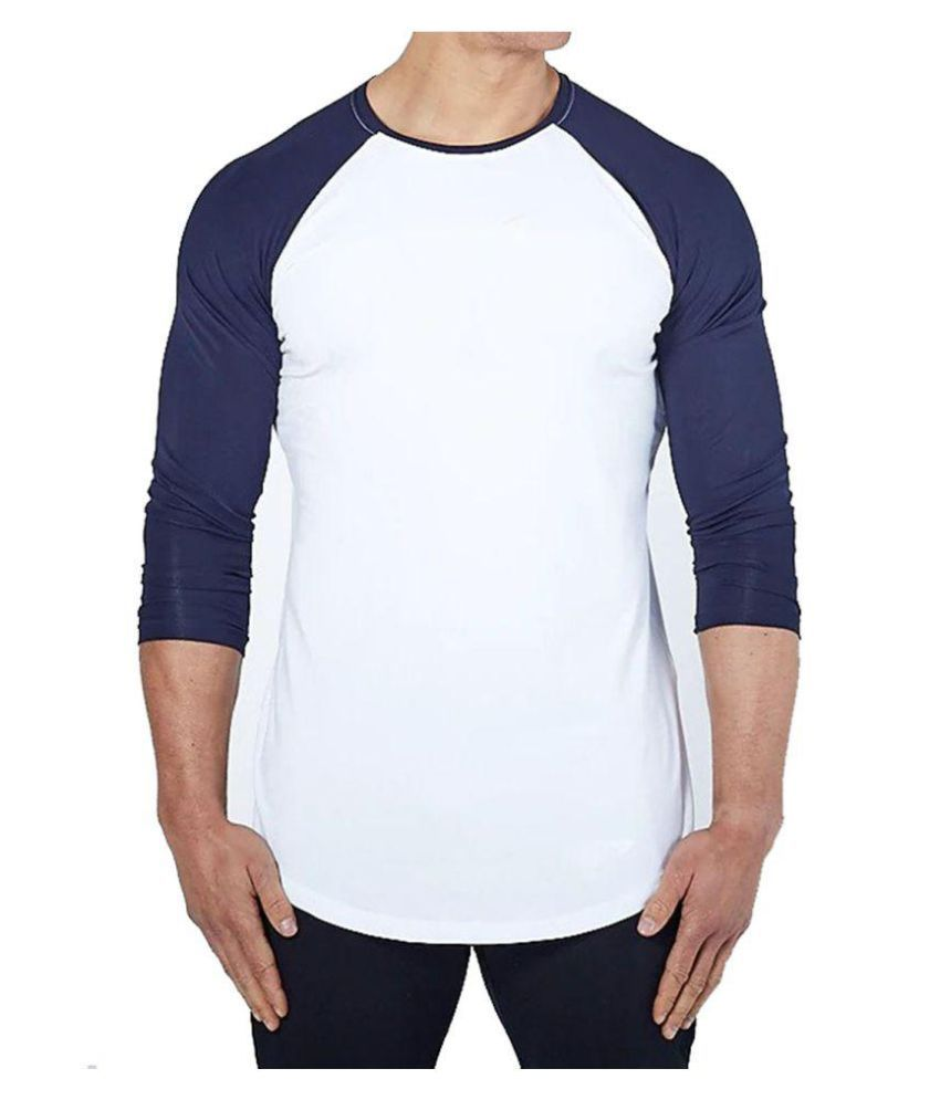 Zesteez White Navy Blue Full sleeves Men ultra stretchable gym-  workout compression support tshirt in premium Quality   fabric    compression Support    GYM    YOGA   Active-  wear    Sportswear   cycling  Running