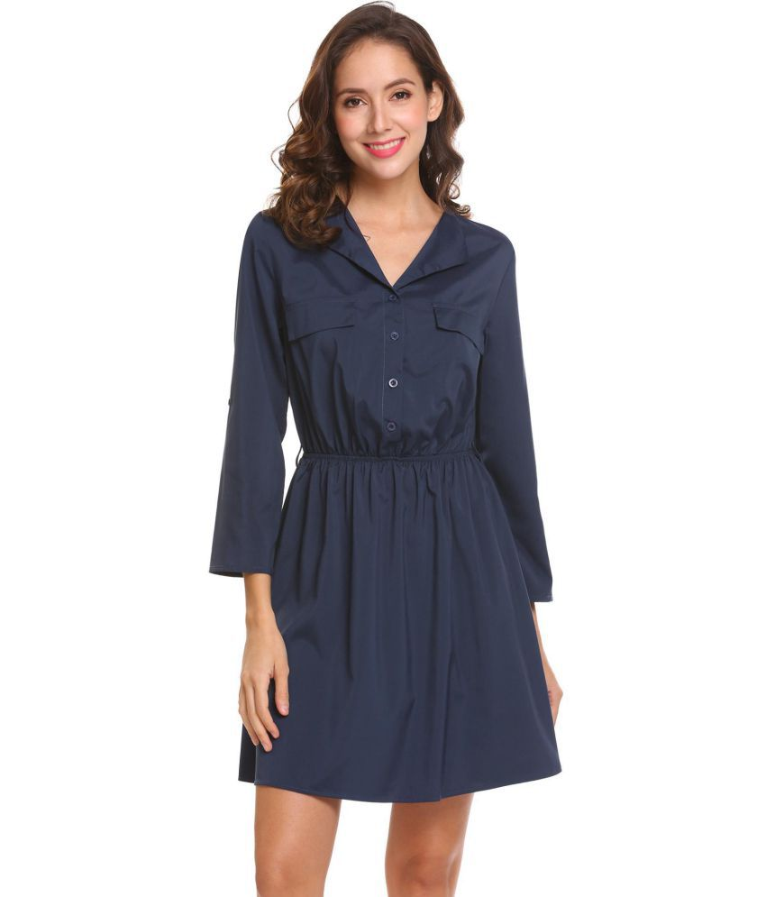 Generic Cotton Blue Shirt Dress