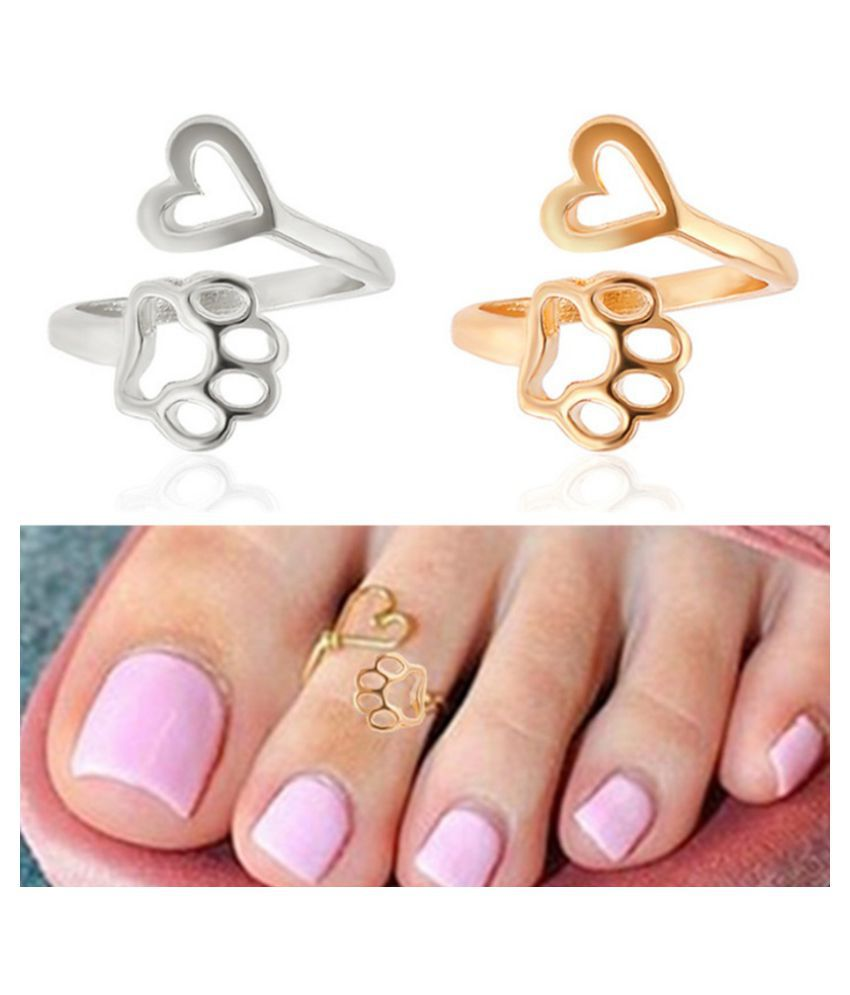 1pcs Fashion Style Simple Love Pets Heart Paw Gold Silver Retro Toe Ring Beach Foot Jewelry