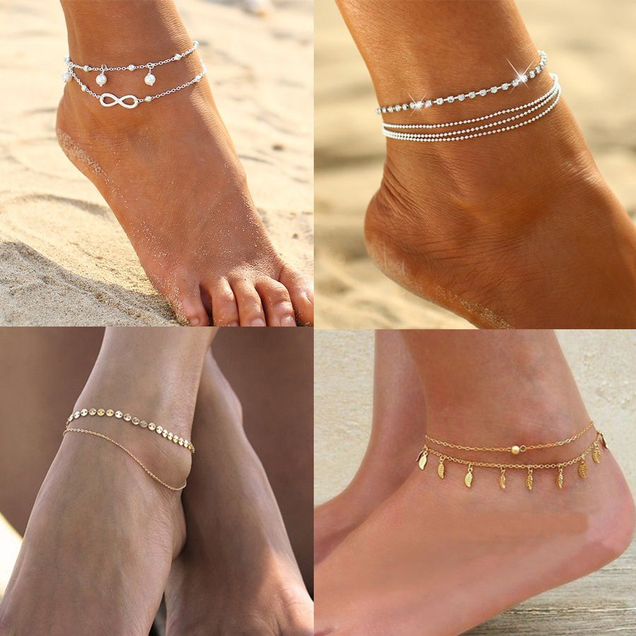 2018 Multilayer Foot Chain Women's Fashion Anklet Bracelet Jewelry Set Gifts