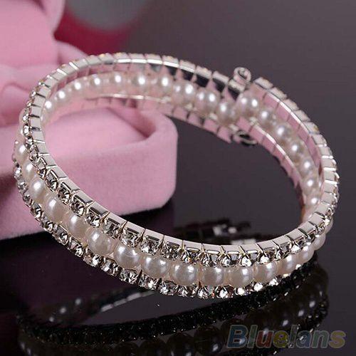 Bridal Wedding 2 Rows Rhinestone Crystal 1 Row Faux Pearls Bangle Bracelet