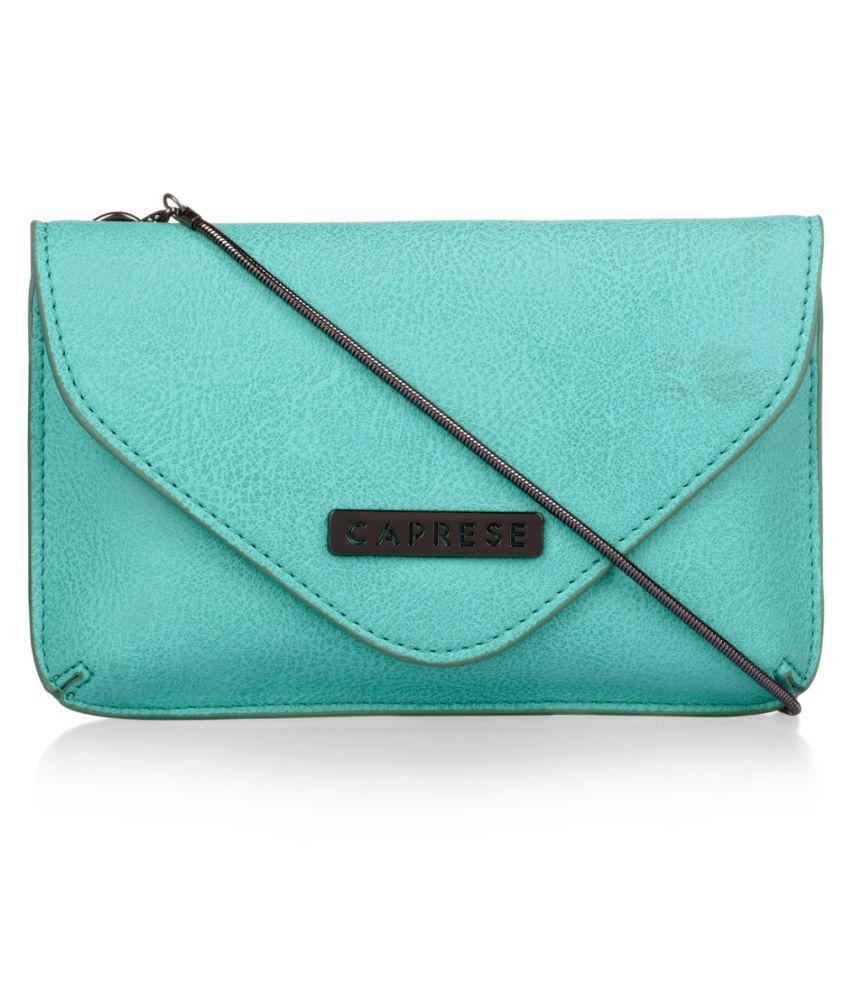 Caprese Blue Faux Leather Sling Bag