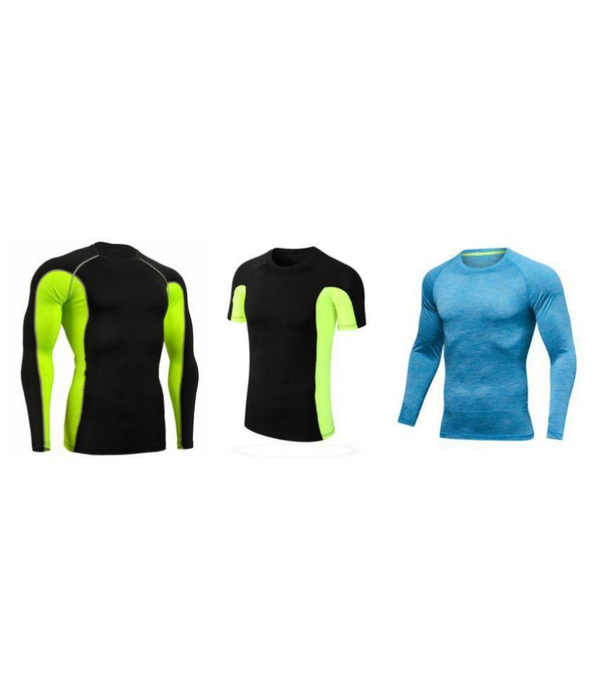 Zesteez Black Green Full slvs Black green Half slvs and sky blue Full sleeves Men ultra stretchable gym-  workout compression support tshirt in premium Quality   fabric || compression Support || GYM || YOGA|| Active-  wear || Sportswear|| cycling||Running