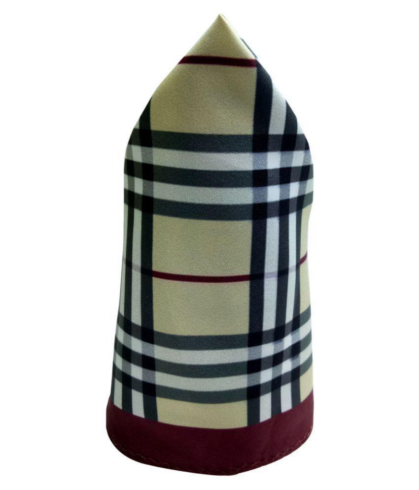 Mentiezi Poly Silk Multicolor Checkered Pocket Square with Maroon Color Border