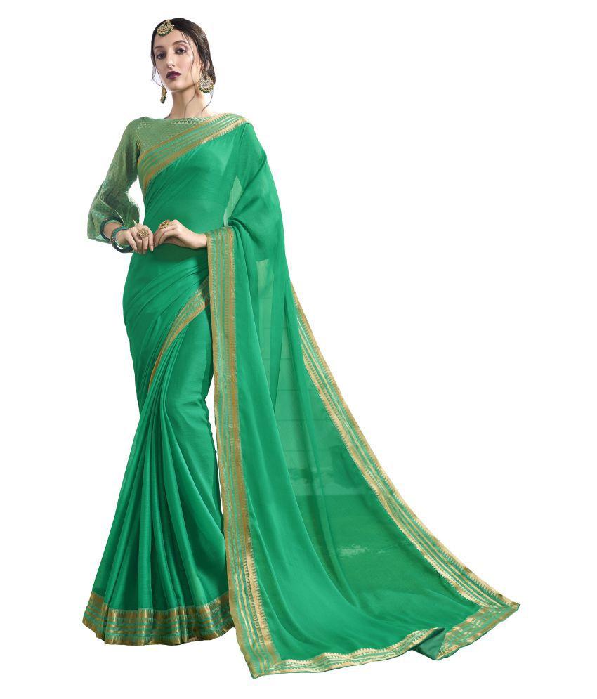 Roop Kashish Green Chiffon Saree