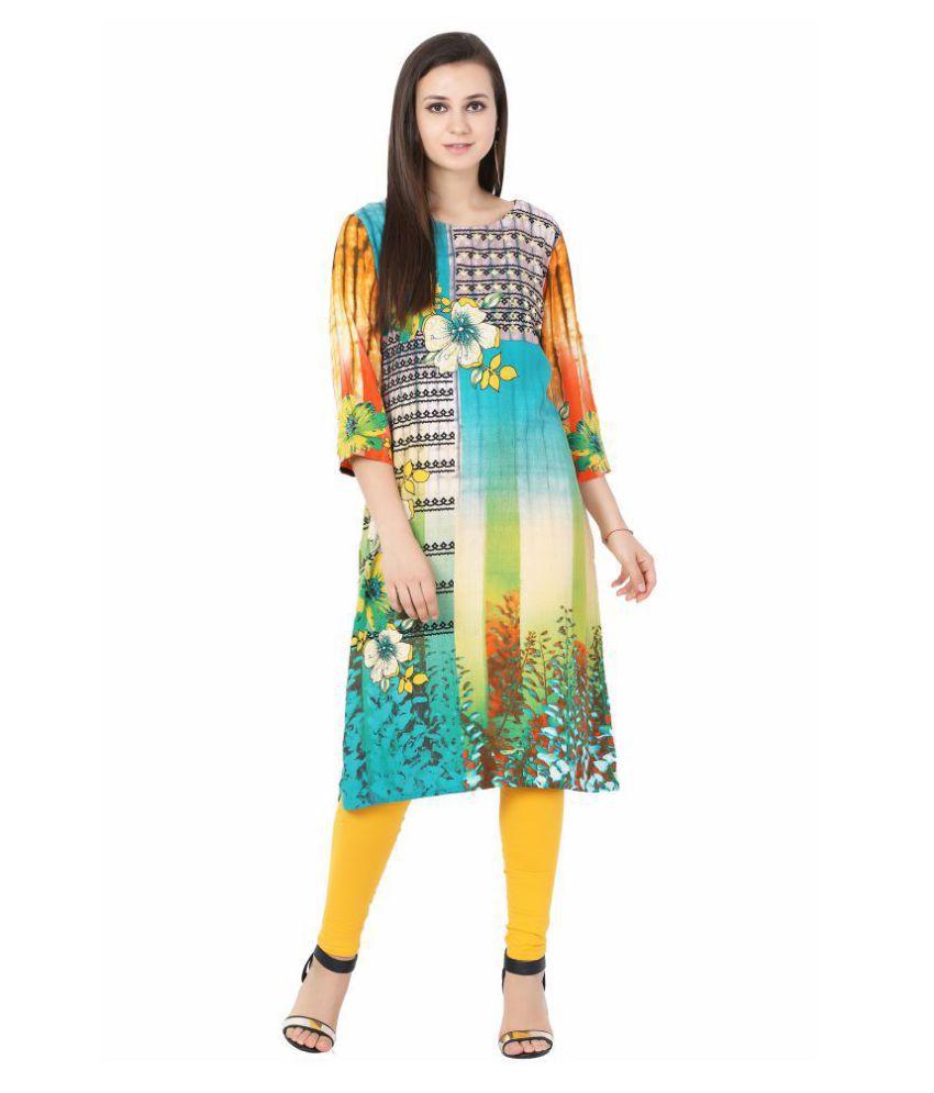 IndiWeaves Multicoloured Rayon Straight Kurti