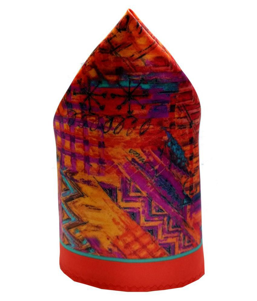 Mentiezi Poly Silk Multicolor Printed Pocket Square with Red Color Border