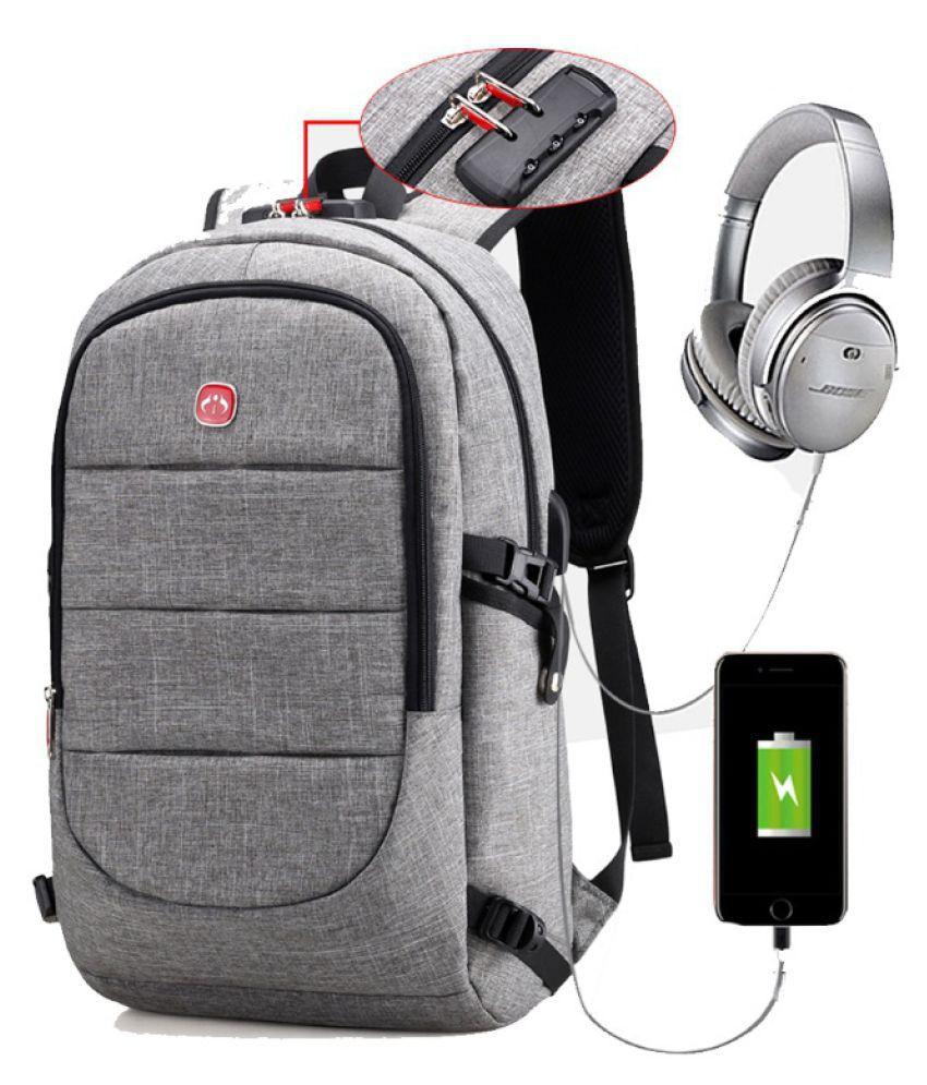 Guru Gray USB Anti-theft Backpack