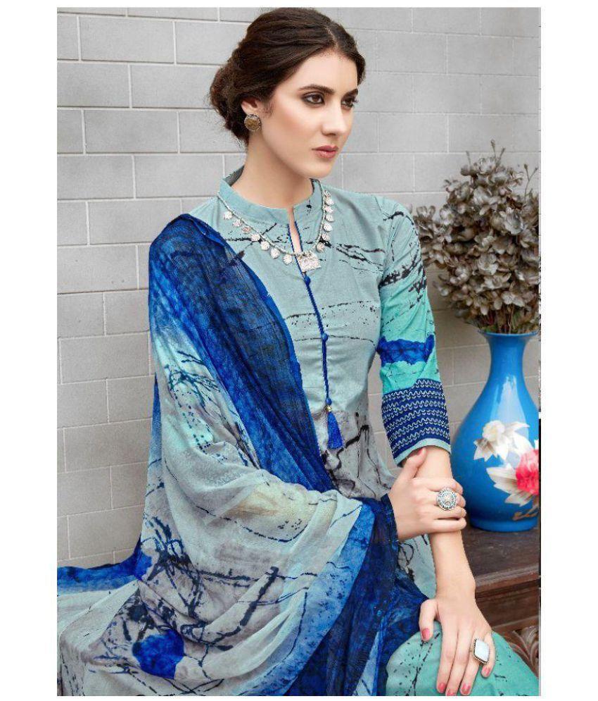 Addicition Multicoloured Cotton Dress Material