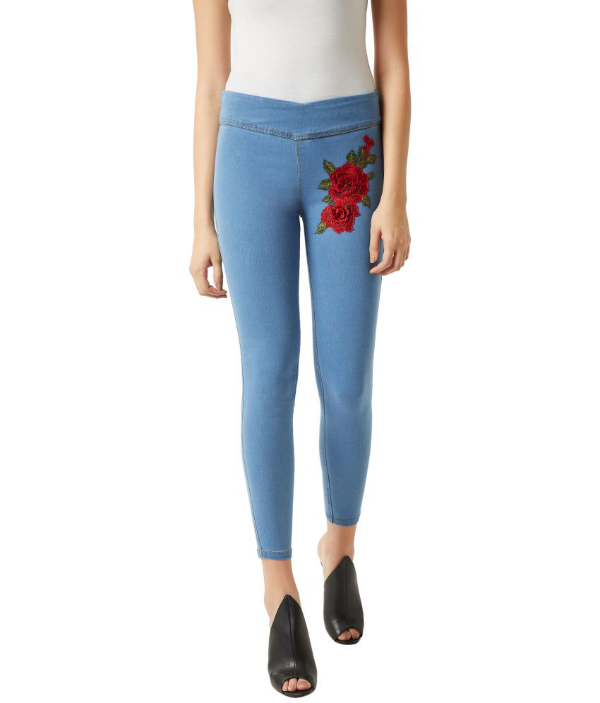 Miss Chase Cotton Jeggings - Blue