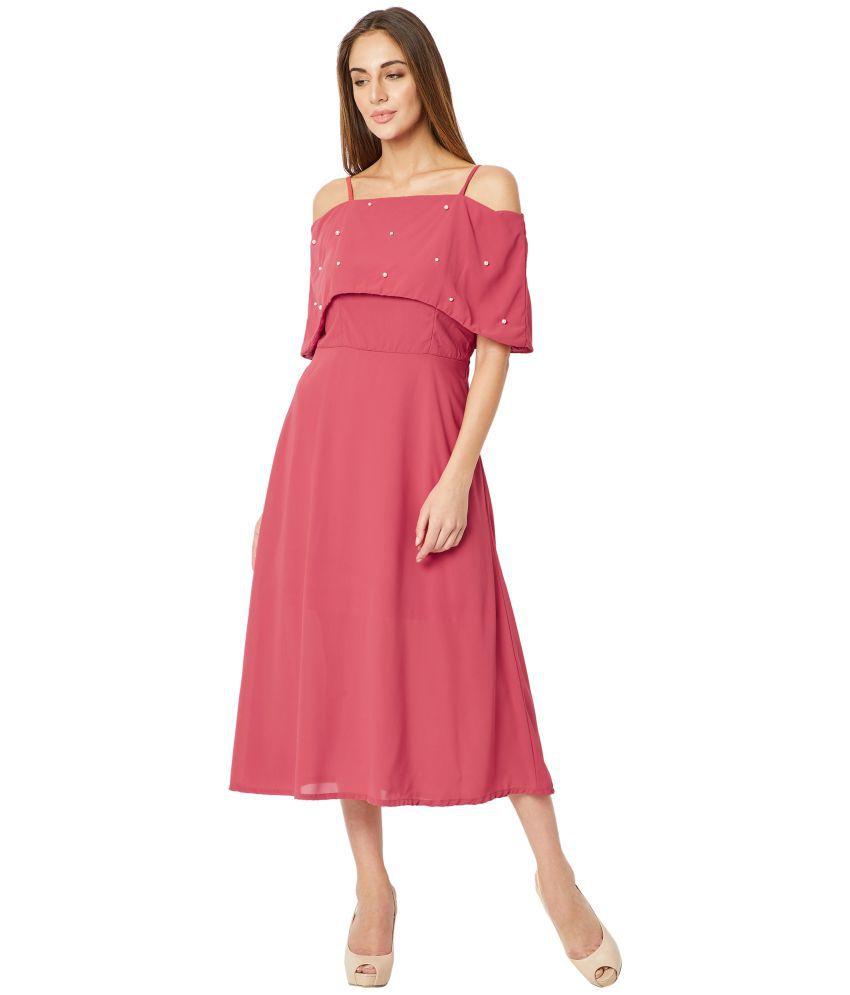 Miss Chase Georgette Pink Skater Dress