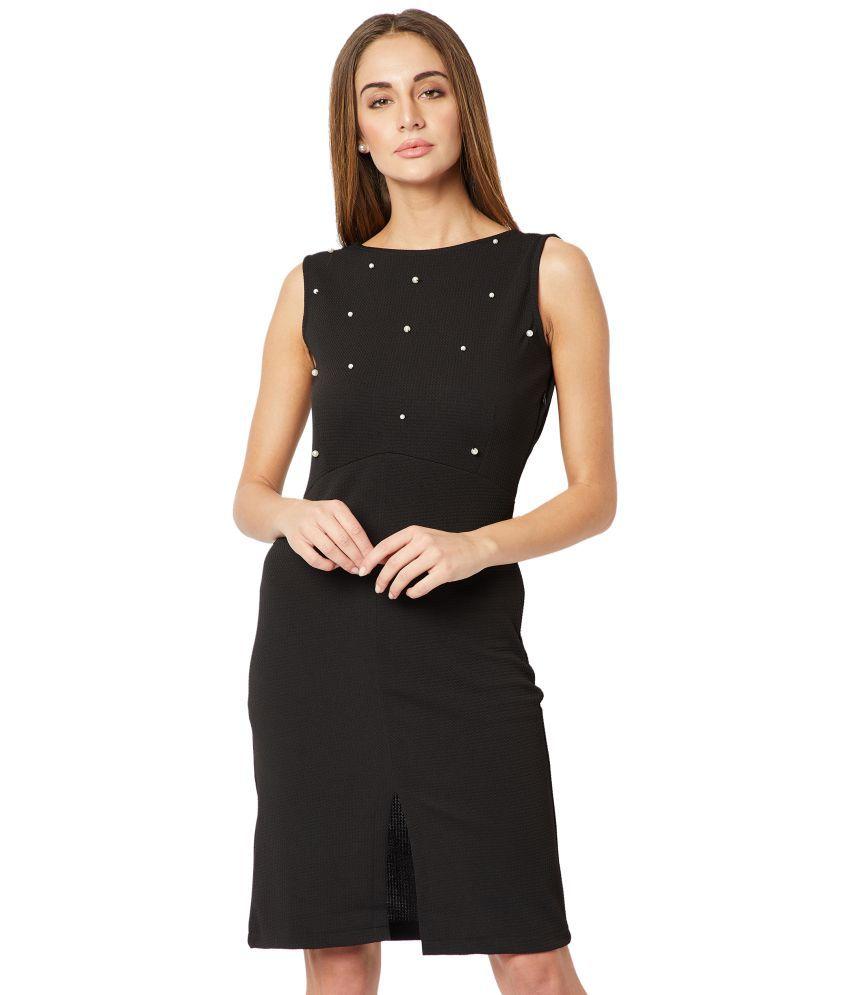 Miss Chase Polyester Black Shift Dress