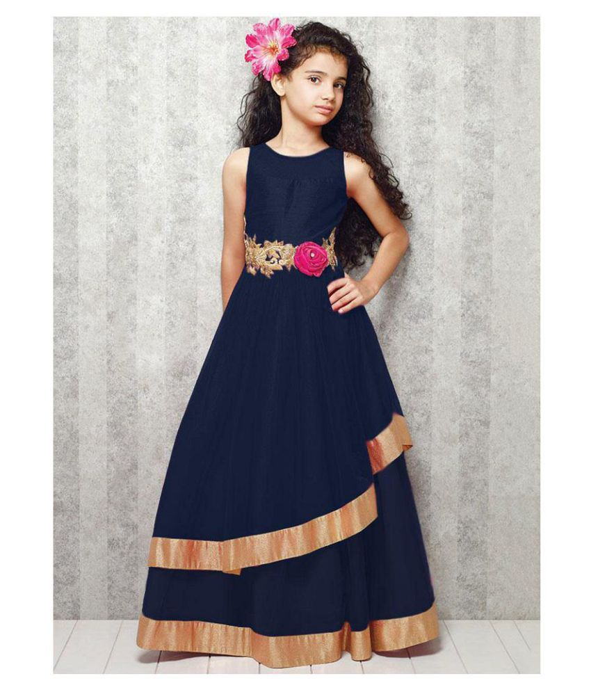 f1f6fce2688 White Button Designer New Girl s Navy Blue Net Embroidery Anarkali Flared  ReadyMade PartyWear Kids Gown Dresses - Buy White Button Designer New  Girl s Navy ...