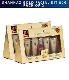 Shahnaz Husain Gold Facial Kit 80g +30ml- Pack of 2 (40g+15ml each)