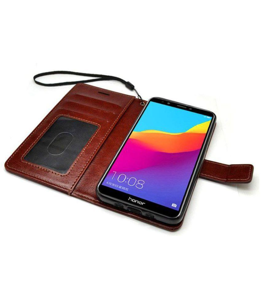 purchase cheap 10009 f4872 Huawei Honor 7C Flip Cover by Bracevor - Brown
