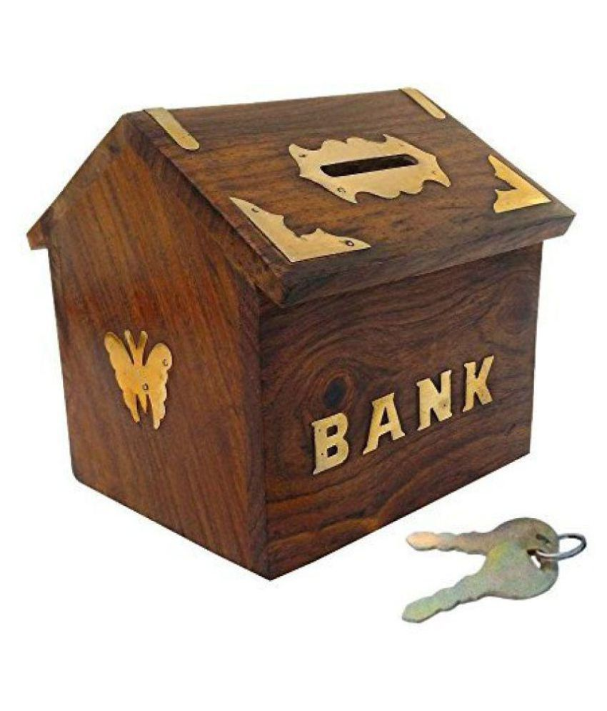 Craft Kings Brown Wooden Piggy Bank