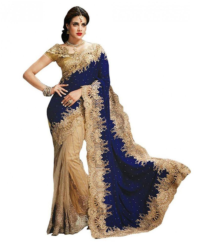 Wkart Blue Velvet Saree