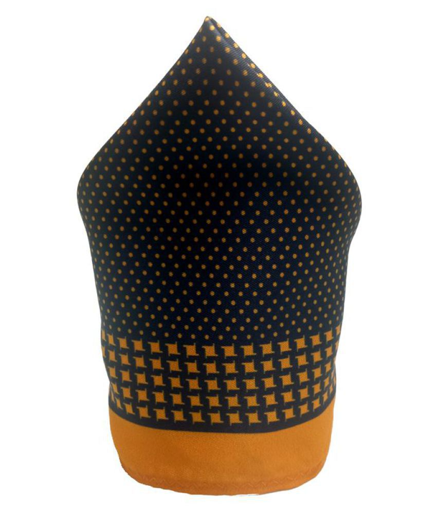 Mentiezi Poly Silk Black Color Printed Pocket Square with Yellow Color Border