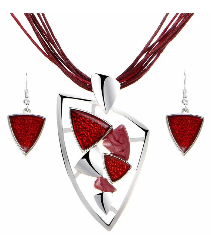 Kamalife Triangle Pendants Jewelry Sets Women Clean Fresh Style Purple Chain Collar Necklace and Earrings Sets