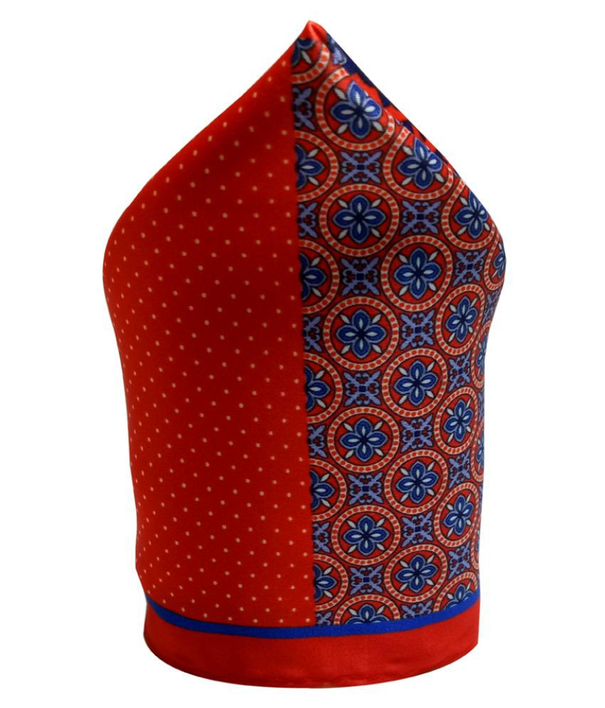 Mentiezi Silk Blue Color Printed Pocket Square with Red Color Border