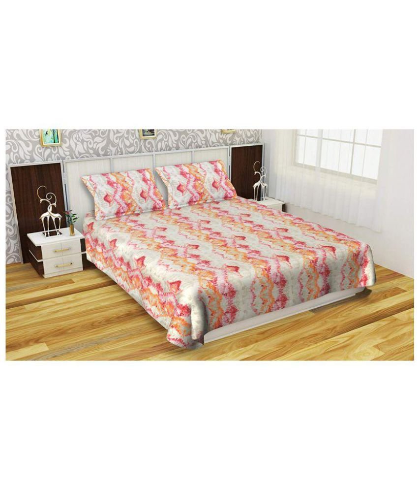 Mishkon International Cotton Double Bedsheet with 2 Pillow Covers