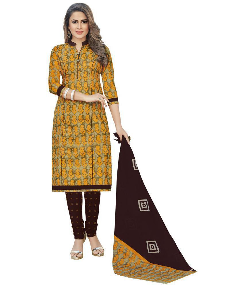 Baalar Yellow and Brown Cotton Dress Material