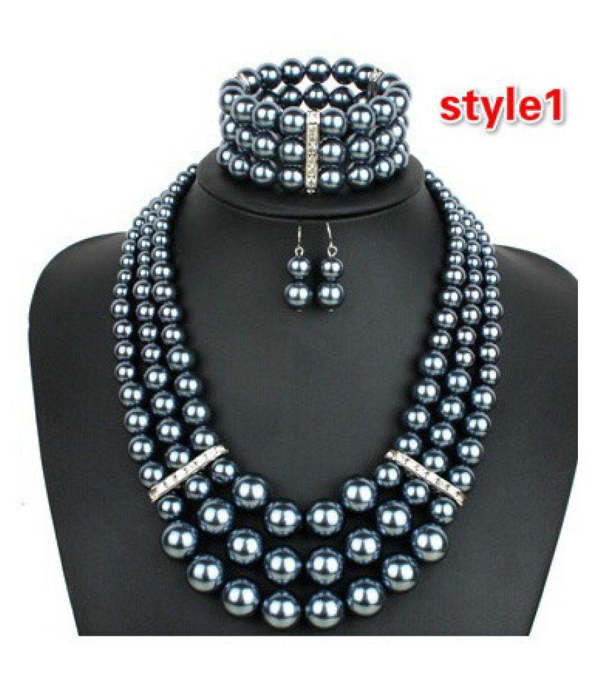 Kamalife 4PCS/set Women's Fashion Faux Pearl Choker Necklace Women Collar Necklace Earring Big Pearl Jewelry  Grey style1