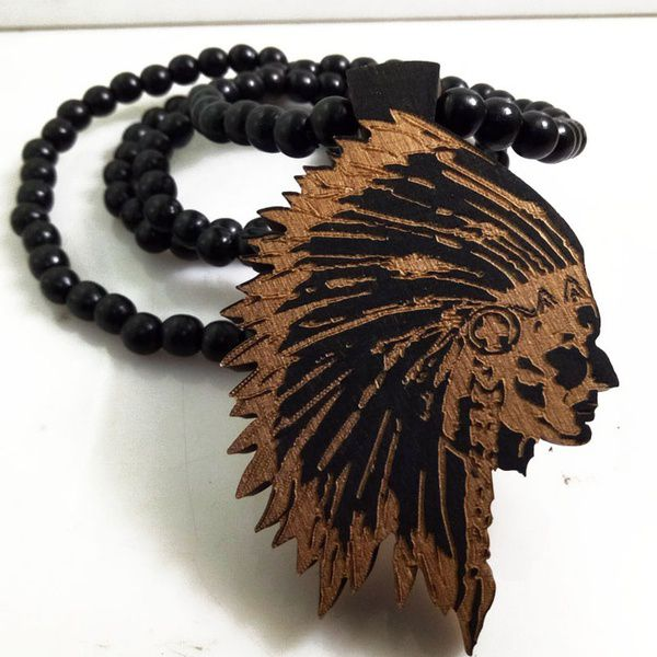 Kamalife Indian Chief Good Wood Hip Hop Jewelry Men Long Wooden Necklace