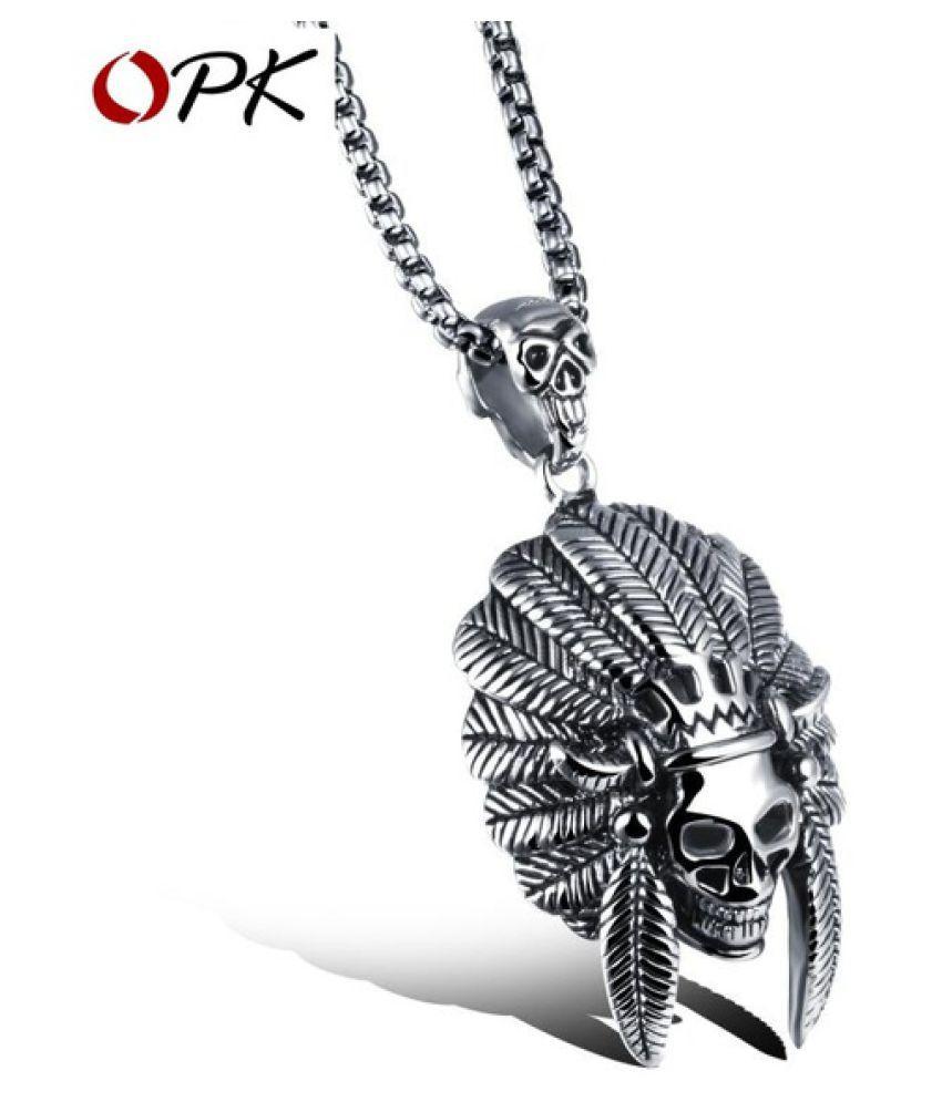 Kamalife Men Punk Indian Chief Skull Head with Cross Titanium Steel Necklace Pendant Jewelry