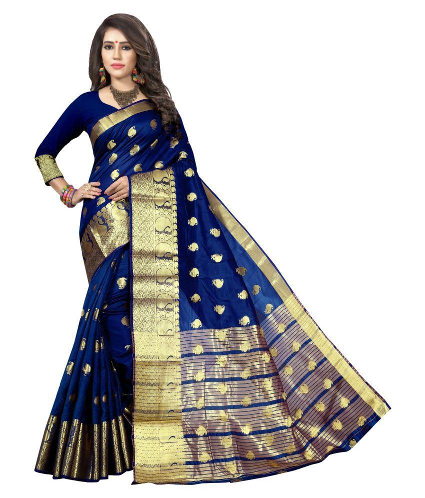 Multi Retail Blue and Beige Cotton Silk Saree