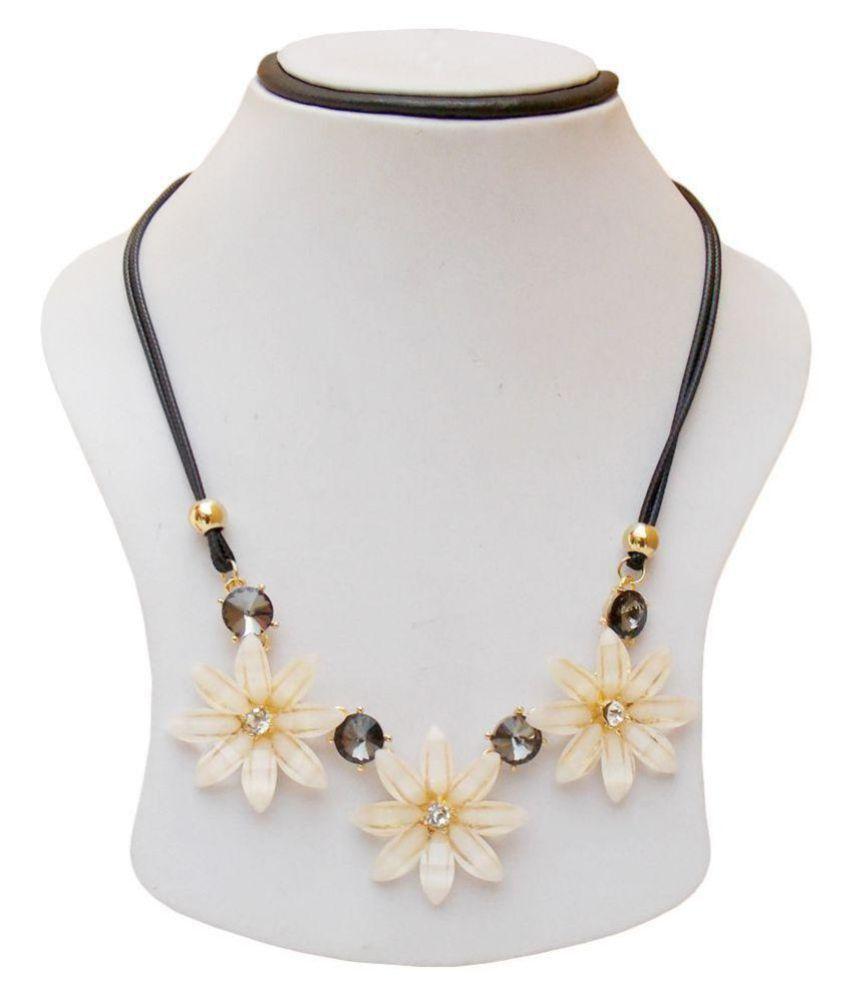 simbright cream acrylic designer necklace