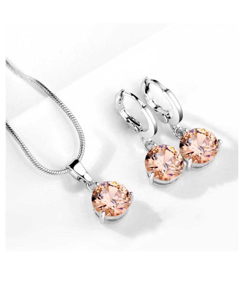 Kamalife 1Set Fashin 3c  Silver Color Snake Necklace Hoop Earring Jewelry Set for Brides Bridal Bridesmaid Wedding Jewelry Sets Aqua