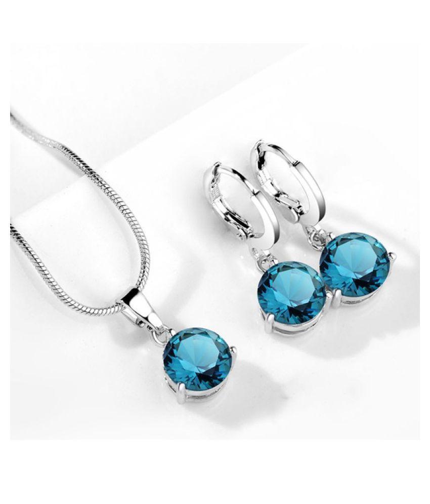 Kamalife 1Set Fashin 3c  Silver Color Snake Necklace Hoop Earring Jewelry Set for Brides Bridal Bridesmaid Wedding Jewelry Sets Light blue