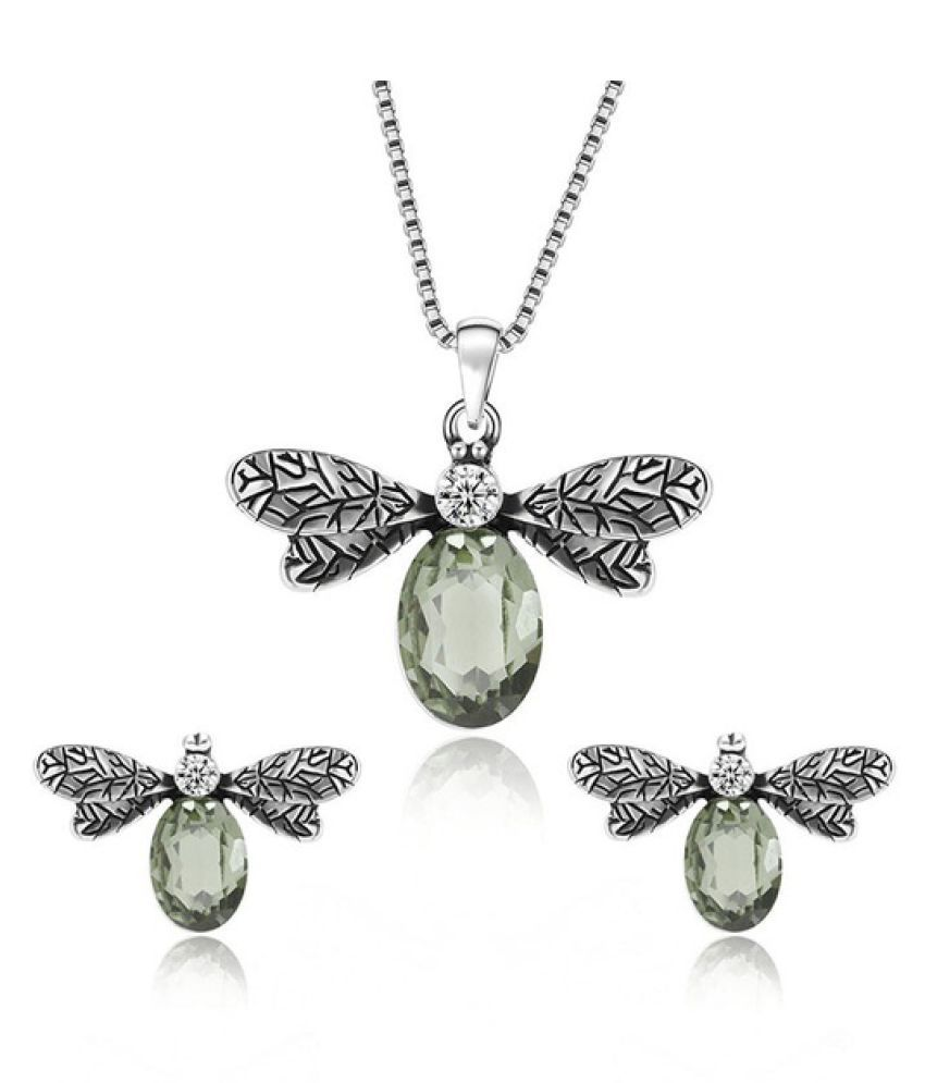 Kamalife Vintage Crystal Zircon Bee Insect Earring Necklace Set Fashion Sterling Silver Rhinestone Animal Necklaces Earrings Women Jewelry Sets   Jewelry Set