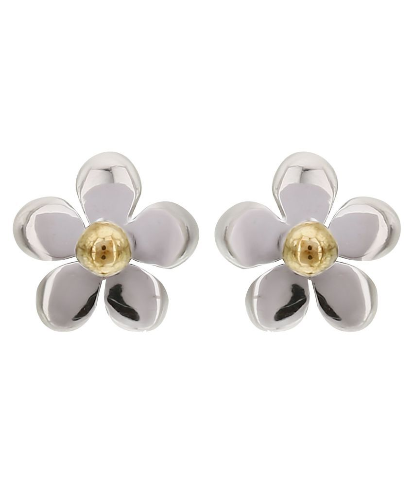 MAGS Silver Self Design Floral Shape Stud Earring for Girls (KLE-014, Silver)