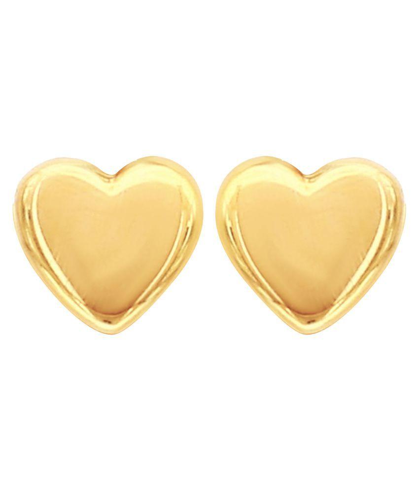 MAGS Silver Self Design Heart Shape Stud Earring for Girls (KLE-004, Golden)