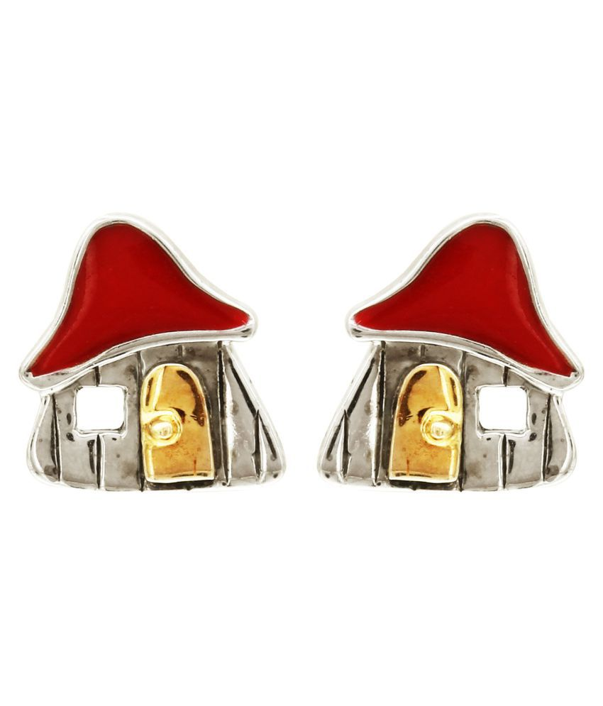 MAGS Silver Self Design House Theme Stud Earring for Girls (KEE-153, Red)