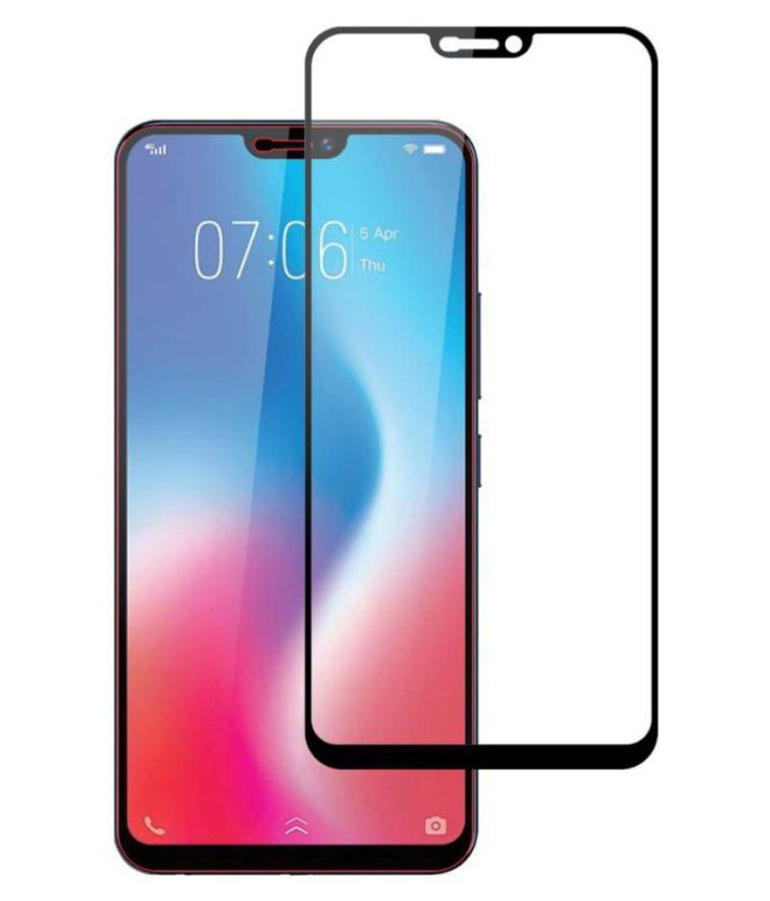 Vivo V9 5D Tempered Screen Guard By GLAZE Full Glue with Precise Curve Edges