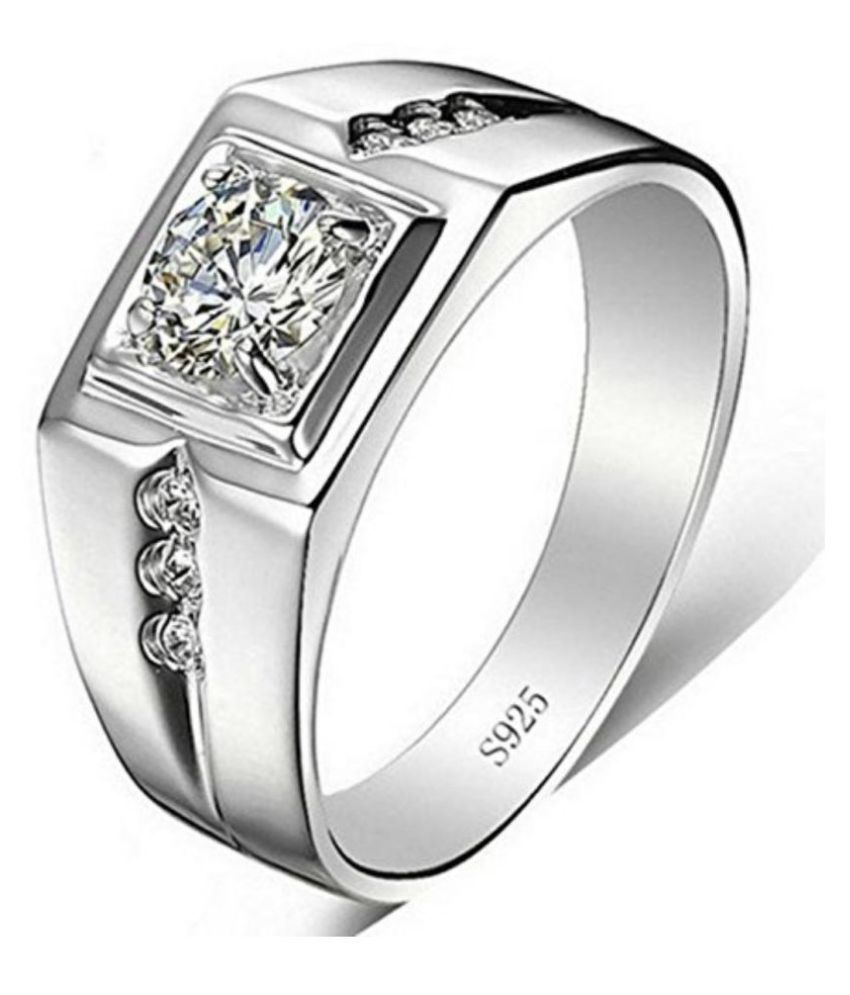 320849740 Exclusive Limited Edition Sterling Silver Swarovski Solitaire Adjustable  Rings For Men & Boys: Buy Online at Low Price in India - Snapdeal